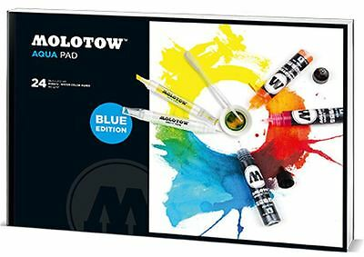 Molotow Aqua Pad - 24 Sheets Of Water Colour Paper - Blue Edition - Large