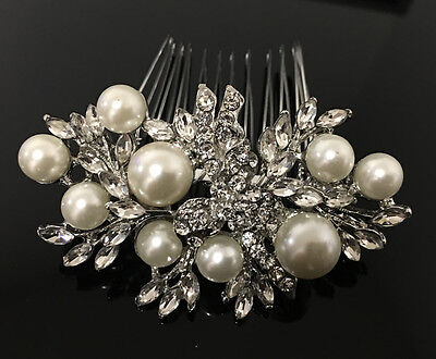 beautiful elegant wedding bridal comb pearl and crystal rhinestone ha27325pearl