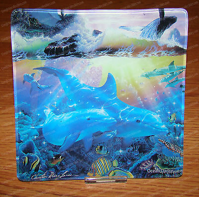 """Ocean Dance 6""""x6"""" Glass Candy Dish, Plate (Dolphin, Whales) Lassen by Westland"""