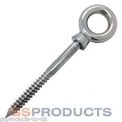 5mm x 50mm Stainless Steel Woodscrew Thread Eye Bolt (Lag Vine Thread) FREE P+P