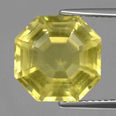 6.98 ct. VS! Feiner 11.5 mm Brasilien Oktagon Lemon Gelber Citrin Quarz