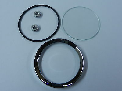 "2"" CHROME BEZEL KIT, Half V Profile Oil/Fuel/Ammeter"