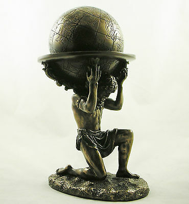 Astrological Globe Supported by Atlas Bronze Statue Figurine Ornament NEW IN