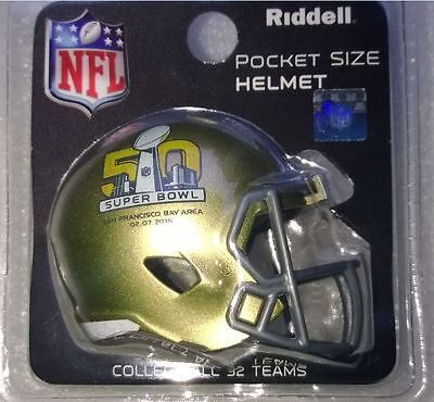Nfl American Football Super Bowl 50 Riddell Pocket Speed Helmet Sealed Pack