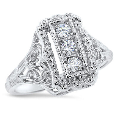 Art Deco Antique Style 925 Sterling Silver Cz Ring Size 6.75,               #699