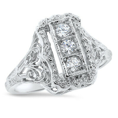 Art Deco Antique Style 925 Sterling Silver Cz Ring Size 7.75,               #699