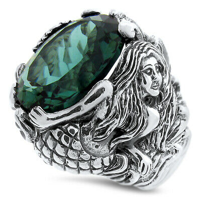 Mermaid Ring Sim Emerald 925 Sterling Silver Ring Size 6,                   #829