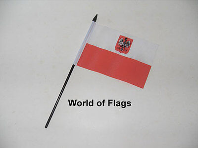 "POLAND EAGLE SMALL HAND WAVING FLAG 6"" x 4"" Polish State Table Desk Display"