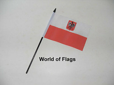 """POLAND STATE EAGLE SMALL HAND WAVING FLAG 6"""" x 4"""" Crafts Table Desk Display"""