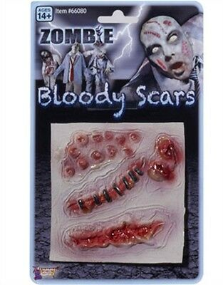 Set of 3 Zombie Bloody Scars Costume Latex Wound Prosthetics