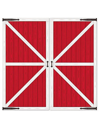 """New 32.5"""" x 5' 4"""" Red And White Barn Door Prop Western Party Decoration"""
