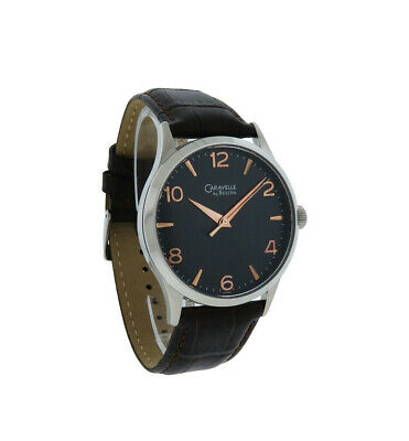 Caravelle by Bulova 43A105 Men's Round Black Analog Rose Gold Tone Leather Watch