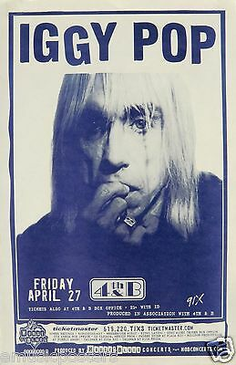 IGGY POP 2001 SAN DIEGO CONCERT TOUR POSTER - Punk Rock Music Legend