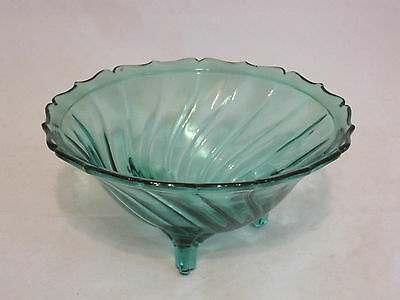 Jeannette Glass Swirl Ultramarine Open Candy Dish Footed Depression Glass