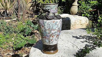 Antique Chinese Crackle Glaze Porcelain Famille Rose Vase Perfect Condition