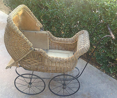Baby Carriage Buggy Antique Doll Wicker Stroller Pram Victorian Canopy Convertib