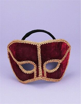 Deluxe Costume Unisex Red Maroon And Gold Lace Venetian Carnival Mask