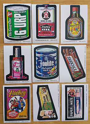 1974 Topps Wacky Packs, Series 9, 27/29 Sticker Set + set of 9 CheckList Cards
