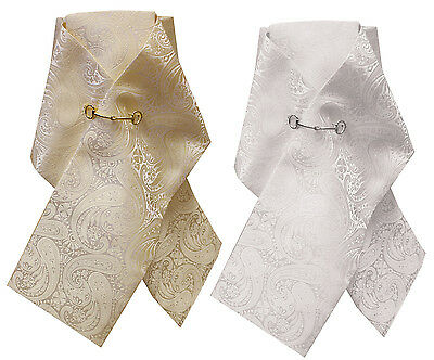 Equetech Paisley Brocade Ready-Tied Stock CREAM or WHITE One Size