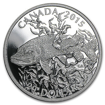 2015 Canada Silver SPORTFISH NORTHERN PIKE 1oz $20 Proof Coin With Box & COA