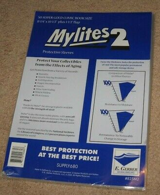 100 E Gerber Mylites 2 Mil Mylar Thick Super Golden Age Comic Book Bags sleeves