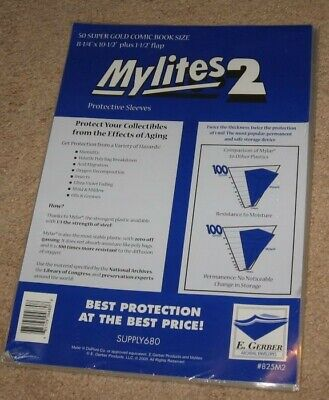 50 E Gerber Mylites 2 Mylar Super Golden Age Comic Book Bags + Full Back Boards