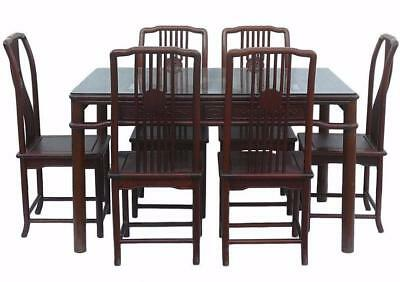 Chinese Huali Rosewood Rectangular Dining Table Chairs Set w Glass cs1125
