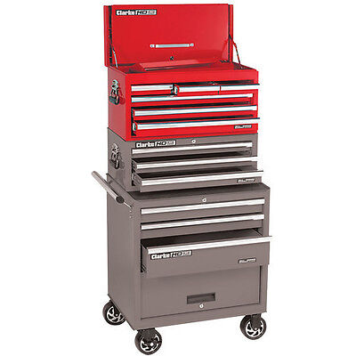Clarke 6 Drawer Ball Bearing Tool Chest With Drop Down Front - Red - 7638020 - C