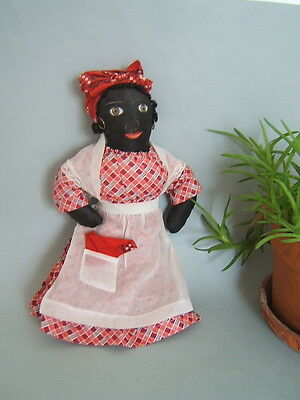 "Vintage 1930's 14"" Black Cloth Mammy Folk Art Negro Doll From Estate"
