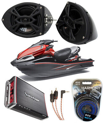 "Kawasaki Jet Ski Pwc Rockford P152 5 1/4"" Speaker Pods & Pbr300X4 Amplifier New"