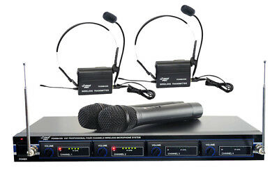 Pyle PDWM4300 New 4 Mic Vhf Wireless Rackmount Mic System W/ Batteries & Cable