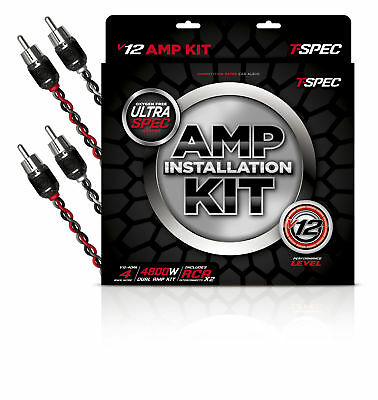 T-Spec V12-DAK4 V12 Series 4800W 4Awg Dual Amplifier Kit W/ 2X Braided Rca Cable