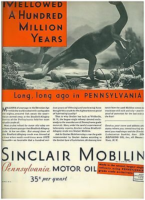 1930 ad for Sinclair Mobiline Motor Oil Dinosaur Theme11 x 14 inches