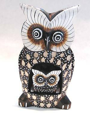 "Wooden Owl Mom Baby Hand Carved Wood Bali Home Decor Sculpture 8"" #1616"