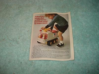 Vintage 1971 FISHER-PRICE TOYS Sm Product Booklet - Package Insert - Rare