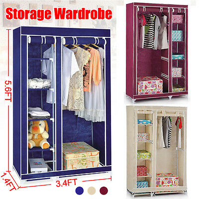 Multiple Canvas Wardrobe Bedroom Decor Clothes Hanging Rail Storage Shelves New
