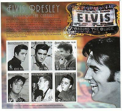 Elvis Presley Grenada Carriaco 1999 mint stamp sheet. MNH. Artist of the Century