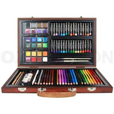 Art Box Wooden Set Pastel Water Crayon Colouring Painting Drawing 88 Piece