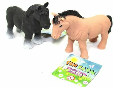 Stretchy Beany Farm Animal Stress Reliever Squishy Toy ~ Horse Colour Vary