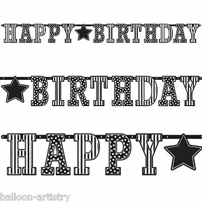 3.3m Classic Black & White Happy Birthday Party Giant Letter Banner Decoration