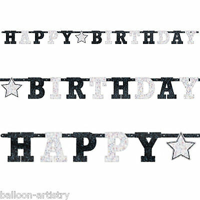 2.4m Classic Black & White Birthday Party Prismatic Letter Banner Decoration
