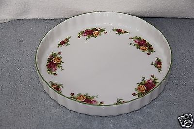 """Royal Albert OLD COUNTRY ROSES Bakeware Quiche Baking Dish 12"""" Round NWT"""
