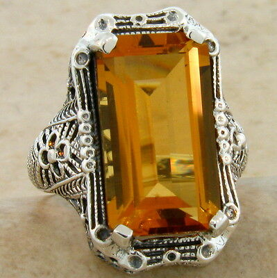 7 Ct. Lab Citrine Antique Art Deco Design .925 Sterling Silver Ring Size 9, #549