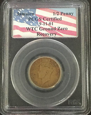 Jamaica 1/2 Penny PCGS Certified Recovered from World Trade Center Ground Zero