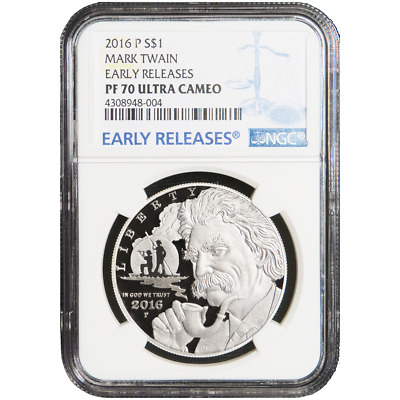2016-P Proof $1 Silver Mark Twain Commemorative NGC PF70UC Blue ER Label