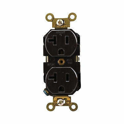 Leviton 5362-S Heavy Duty Straight Blade Ground Receptacle, 20A, Brown (10 Pack)