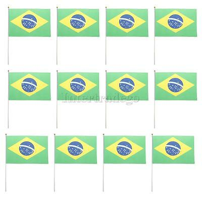 "12PCS Brazilian Polyester Hand Waving Flags National Flag of Brazil 8"" X 5"""