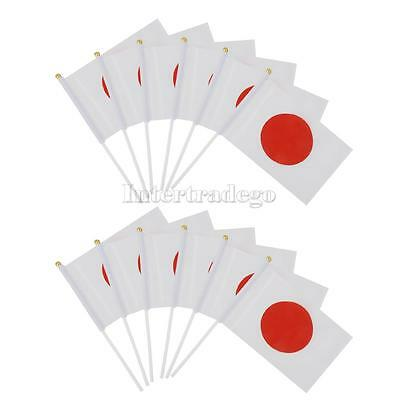 "12 PCS Japanese Polyester Hand Waving Flags National Flag of Japan 8"" X 5"""