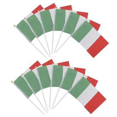 "12 PCS Italian Polyester Hand Waving Flags National Flag of Italy 8"" X 5"""