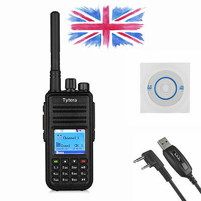 TYT MD-380 DMR UHF 400-480Mhz 2-Way Mobile Analog Digital Radio + Program Cable